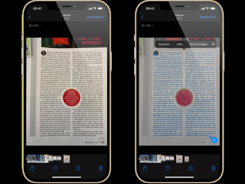 iOS 15 Live Text kopieren & einfügen